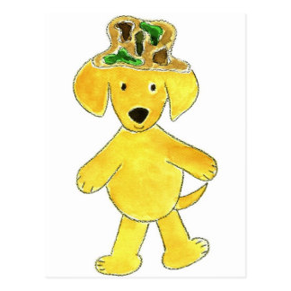 Laboratorio del amarillo del gorra de Camo Tarjetas Postales