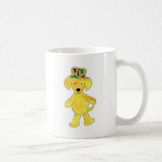 Laboratorio del amarillo del gorra de Camo Taza De Café