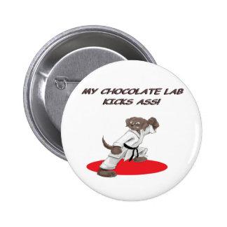 Laboratorio del karate del chocolate pin redondo de 2 pulgadas
