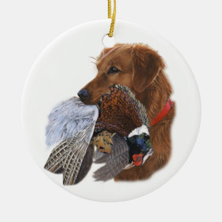 Laboratorio el último perro de caza adorno redondo de cerámica