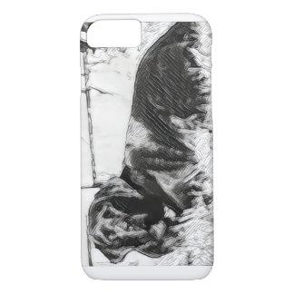 Laboratorio negro que pone en el bosquejo de Sun Funda iPhone 7