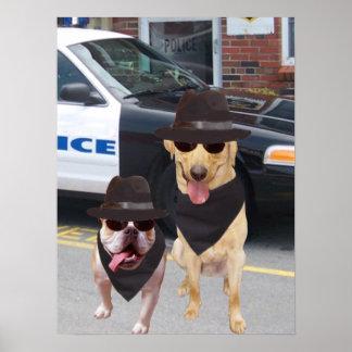 Laboratorio y perro divertidos de Bull Póster