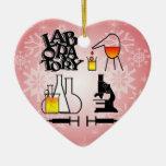 LABORATORY 4 SQUARE LOGO Double-Sided HEART CERAMIC CHRISTMAS ORNAMENT