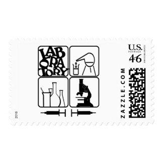 LABORATORY - BEAKERS SYRINGES MICROSCOPE POSTAGE STAMPS