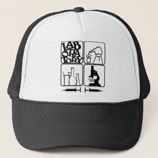 LABORATORY - BEAKERS SYRINGES MICROSCOPE TRUCKER HAT