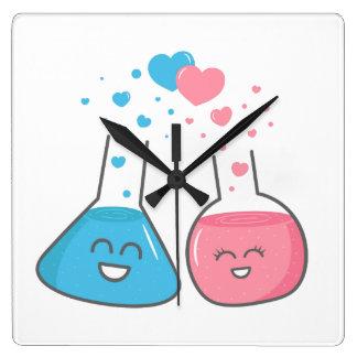 Laboratory flasks in love, we've got chemistry wallclock