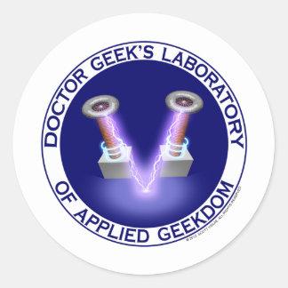 Laboratory Logo del doctor Geek's Pegatina Redonda