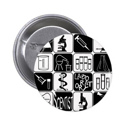 LABORATORY SCIENTIST SYMBOLS AND TOOLS 2 INCH ROUND BUTTON