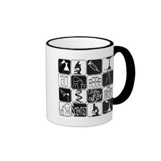 LABORATORY SCIENTIST SYMBOLS AND TOOLS RINGER COFFEE MUG