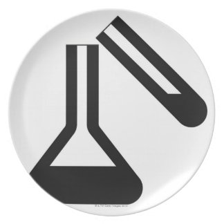 Laboratory symbol against white background dinner plate
