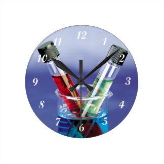 Laboratory Test Tubes Round Clock