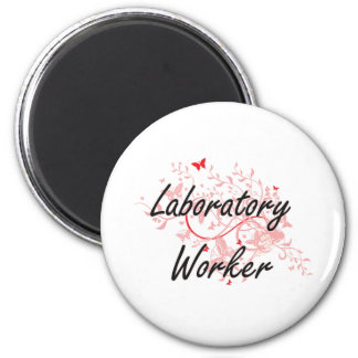 Laboratory Worker Artistic Job Design with Butterf Magnet
