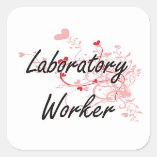 Laboratory Worker Artistic Job Design with Hearts Square Sticker