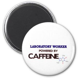 Laboratory Worker Powered by caffeine 2 Inch Round Magnet