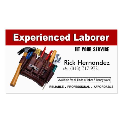 Laborer handyman home repair construction business card for Home repair business cards