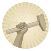 Laborer Holding sledge hammer Classic Round Sticker