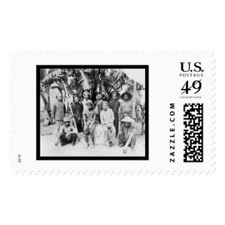 Laborers by Palm Trees in Saigon, Vietnam 1898 Postage