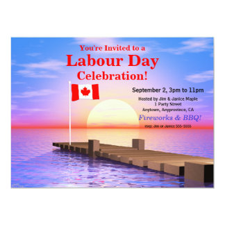 Labour Day Party Canadian Flag on Dock 6.5x8.75 Paper Invitation Card