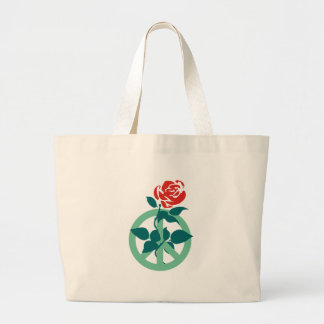 Labour Rose Peace Sign Large Tote Bag