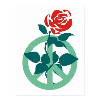 Labour Rose Peace Sign Postcard
