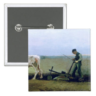 Labourer and Peasant Planting Potatoes, 1884 Button