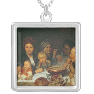 Labourers at a Table, Thueringen, 1875 Silver Plated Necklace
