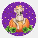 Labr-O-Linterna amarilla de Halloween del Pegatina Redonda