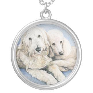 Labradoodle and Standard Poodle Dog Art Necklace