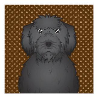 Labradoodle (Black) Dog Cartoon Paws Art Photo