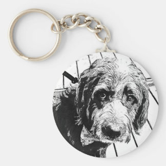 Labradoodle Black Shaggy Button Keychain