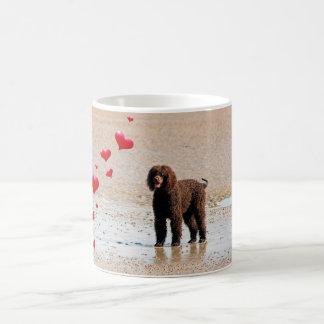 Labradoodle Black with hearts Coffee Mug