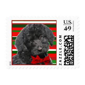 Labradoodle Christmas Stripes Postage Stamp