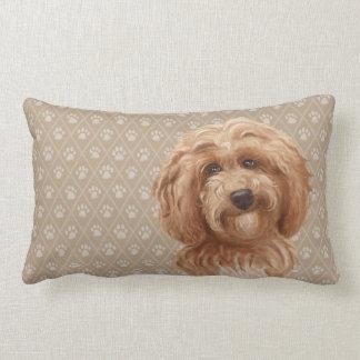 Labradoodle Dog Lumbar Pillow red brown