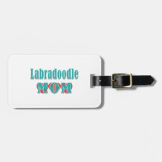 Labradoodle Dog Mom Teal Text Red Hearts Bag Tag