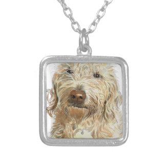 Labradoodle Ginger Silver Plated Necklace