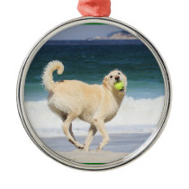 Labradoodle - Happy Day on the Beach Metal Ornament