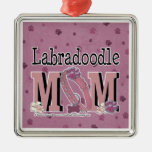 LabraDoodle MOM Square Metal Christmas Ornament