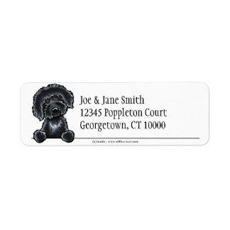 Labradoodle negro limpio y simple etiqueta de remite