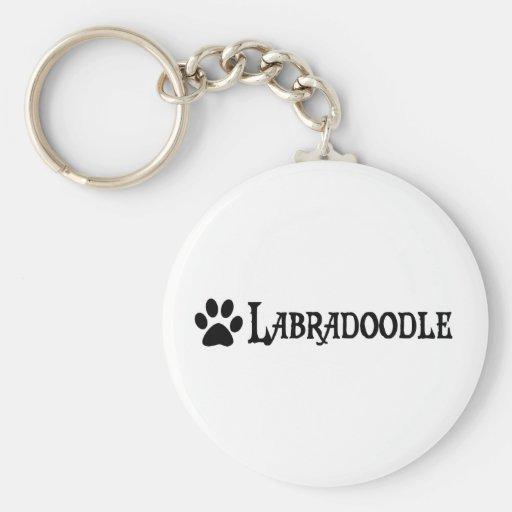 Labradoodle (pirate style w/ pawprint) keychain