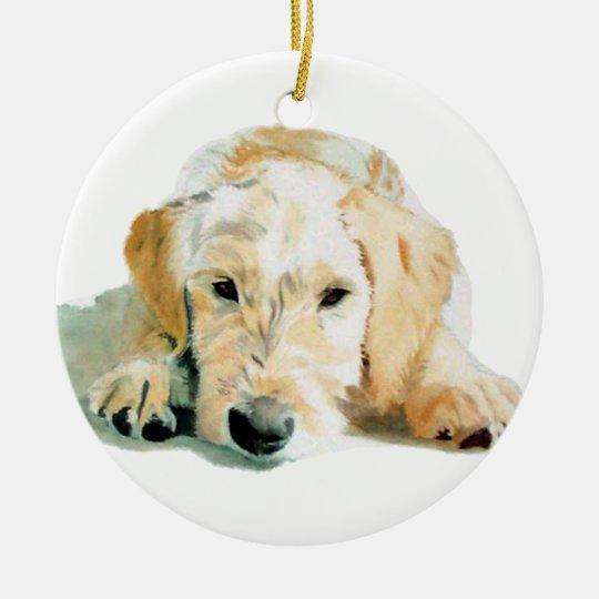 Labradoodle pup ceramic ornament