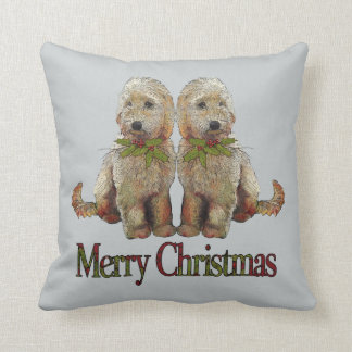 Labradoodle Puppy Couple with Christmas Holly Throw Pillow