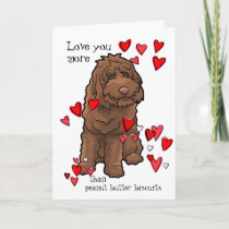 Labradoodle Valentine Love You More than Biscuits Card