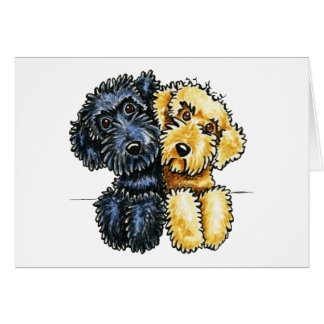 Labradoodles Black Yellow Lined Up Card
