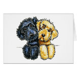 Labradoodles Black Yellow Lined Up Greeting Card