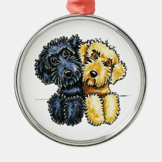 Labradoodles Black Yellow Lined Up Metal Ornament