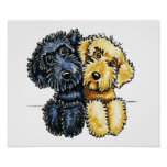 Labradoodles Black Yellow Lined Up Poster