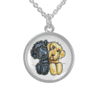 Labradoodles Black Yellow Lined Up Round Pendant Necklace