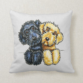 Labradoodles Black Yellow Lined Up Throw Pillow