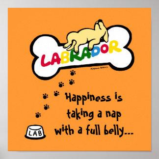 Labrador amarillo con un dibujo animado completo d impresiones