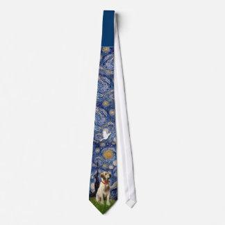 Labrador (amarillo) en noche estrellada corbata personalizada